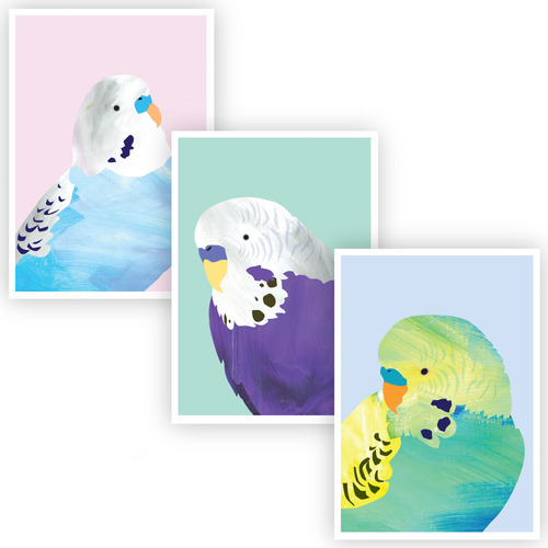 Design Mondo Lovely Budgies Unframed Paper Print Triptych