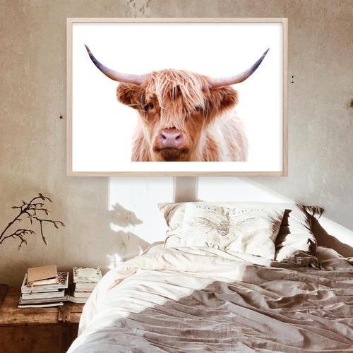Design Mondo Hairy Highland Cow Printed Wall Art