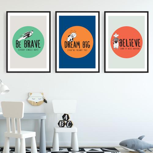 Design Mondo Be Brave Trilogy Printed Wall Art Triptych
