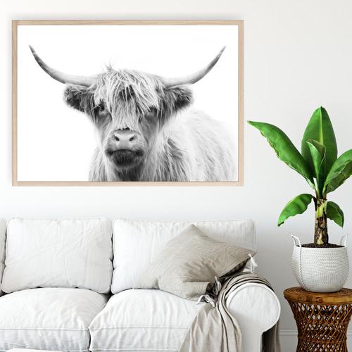 Monotone-Highland-Cow-Printed-Wall-Art-DM684b