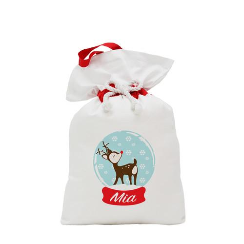 IdTee Personalised Traditional Reindeer Santa Sack