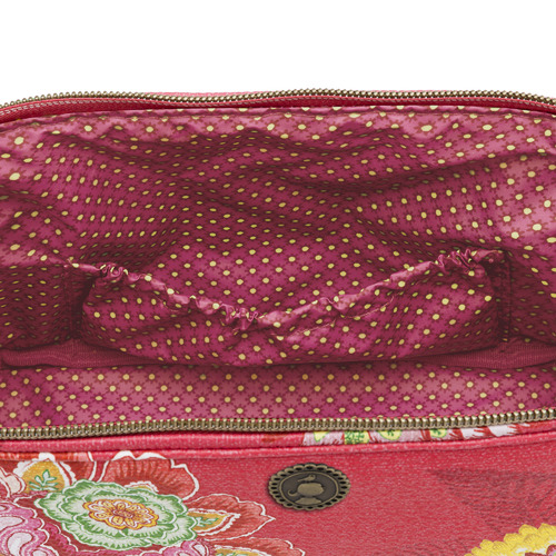 Pink Jambo Flower Faux Leather Beauty Pouch