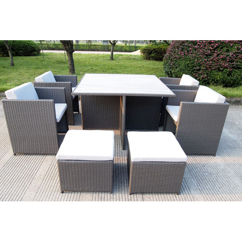 9 Piece Rio PE Wicker Outdoor Dining Table Chair Set Temple