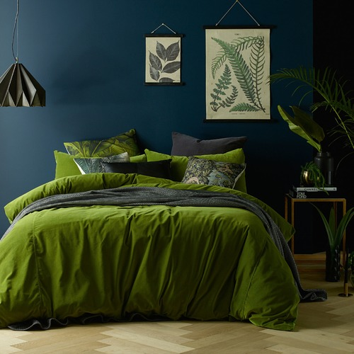 Vintage Design Mossy Road Cotton Velvet Quilt Cover Set