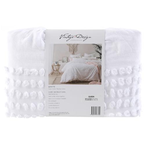 Vintage Design White Betty Cotton Quilt Cover Set