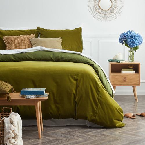 Vintage Design Mossy Road Cotton Velvet, Moss Green Velvet Bedding