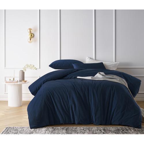 Riverland Blue Cotton Velvet Quilt Cover Set
