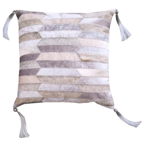Grey Olio Leather Cushion Cover