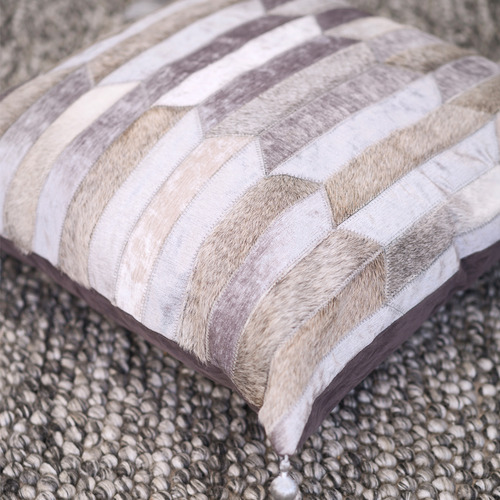 Art Hide Grey Olio Leather Cushion Cover