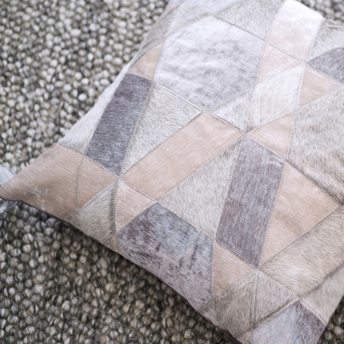 Grey Selva Leather Cushion Cover