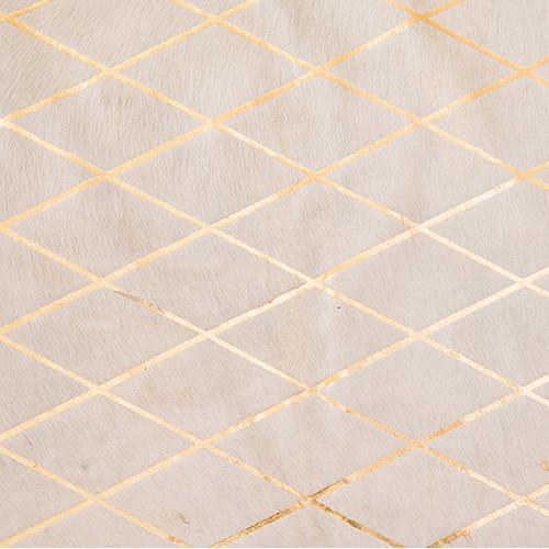 Amigos de Hoy Cream & Gold Harlequin Metallic Cowhide