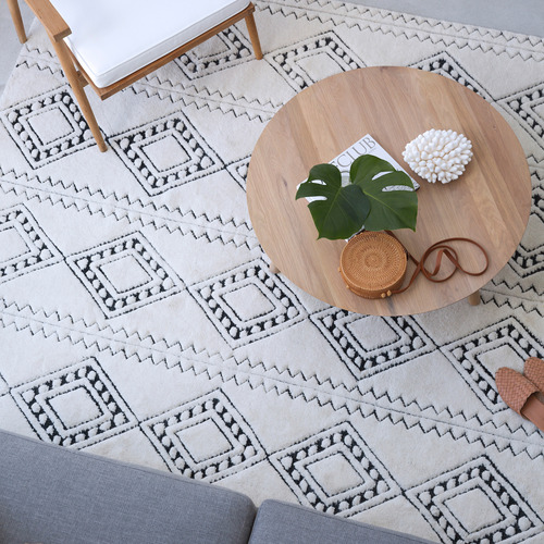 Amigos de Hoy Cream Honeycomb Weave Wool-Blend Rug
