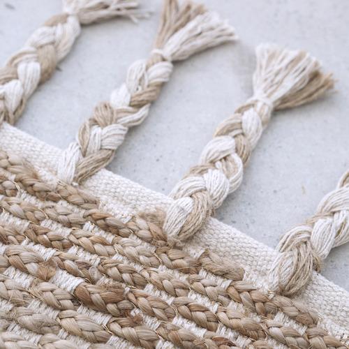 Amigos de Hoy White Tasselled River Weave Hemp-Blend Rug