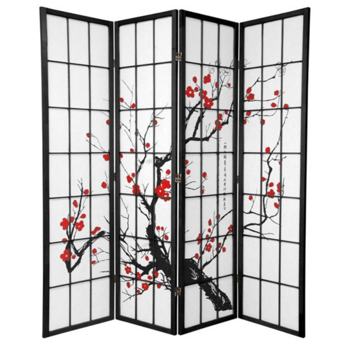 Home Storage and Living 4 Panel Cherry Blossom Room Divider Screen