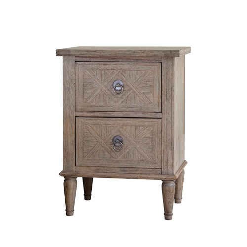Bella Casa Sheffield 2 Drawer Ash Wood Bedside Table