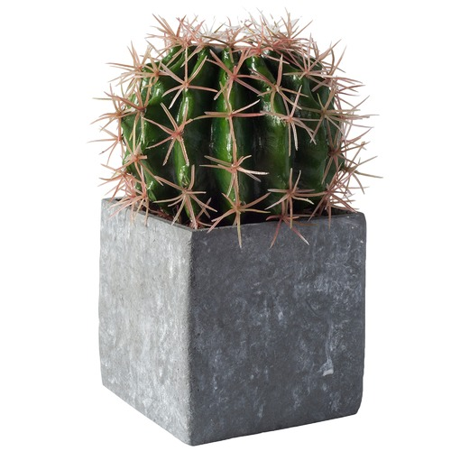 Bella Casa 20cm Faux Ball Cactus in Concrete Effect Cube