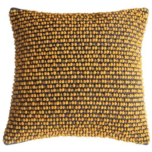 Bella Casa Ochre Cambo Pom Pom Cushion