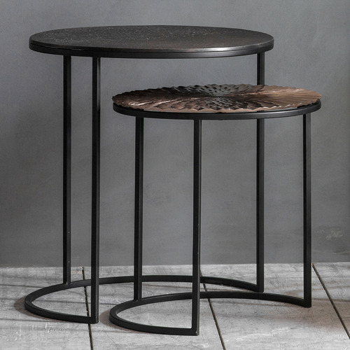 Bella Casa 2 Piece Philomena Metal Side Table Set