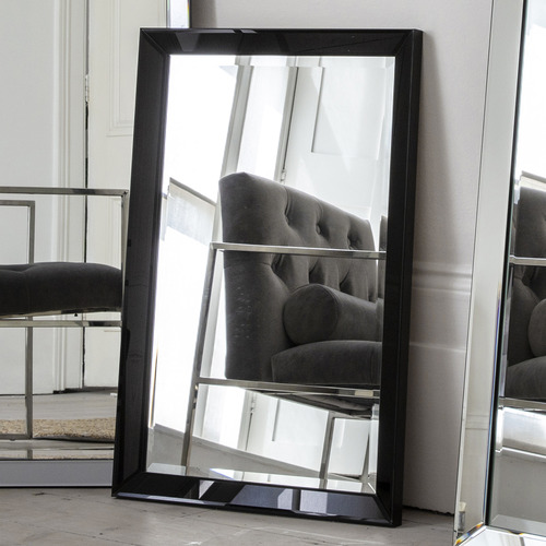 Bella Casa Black Byers Bevelled Wall Mirror