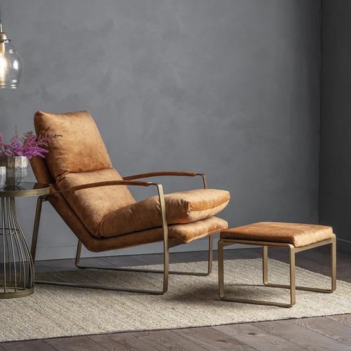 Bella Casa Fagan Suede Leather Footstool