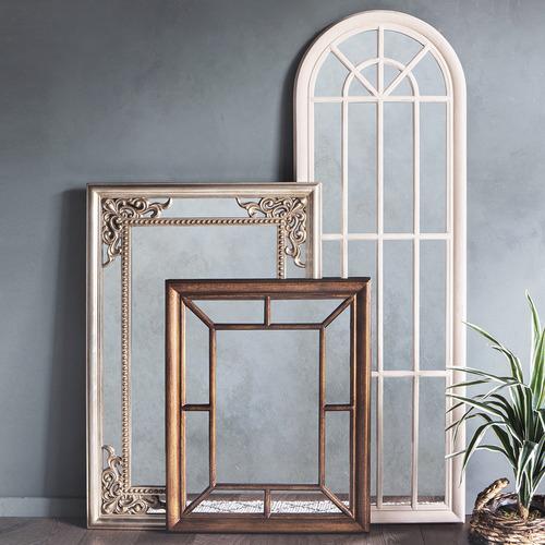 Antique White Curtis Wooden Wall Mirror