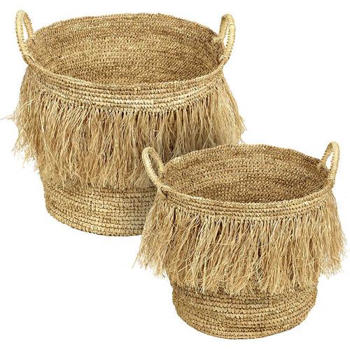 2 Piece Hula Raffia Basket Set