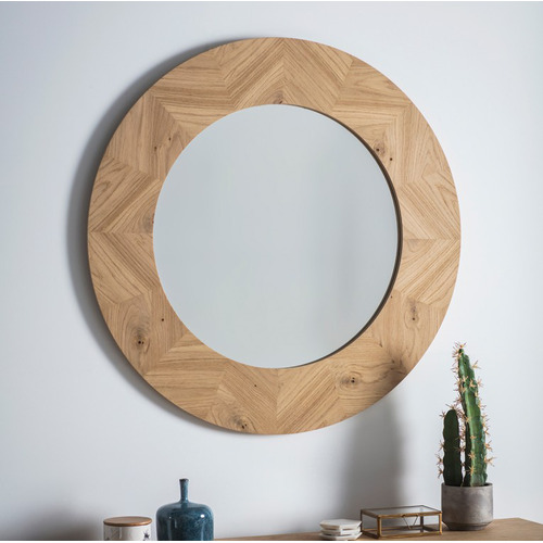 Bella Casa Natural Manny Round Wooden Wall Mirror