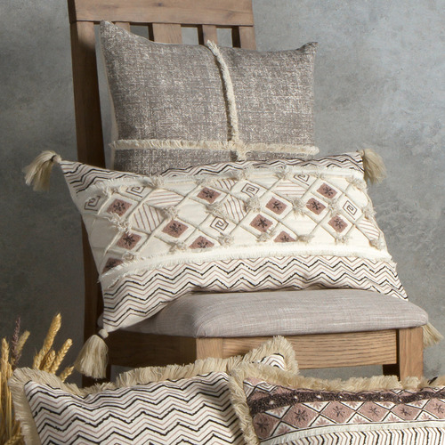 Bella Casa Cream Embroidered Suma Cotton Cushion