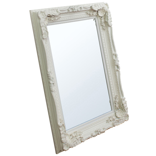 Bella Casa Carved Lawrence Mirror in Matt Cream