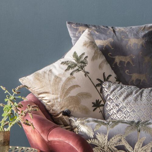 Metallic Grey Kachana Square Cotton Cushion