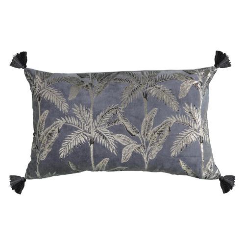 Bella Casa Metallic Grey Kachana Rectangular Velvet Cushion