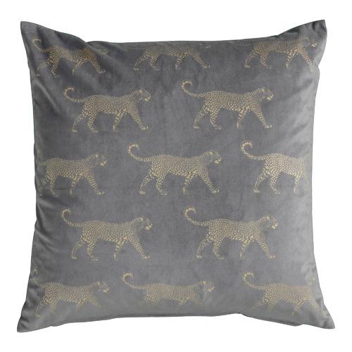 Bella Casa Metallic Grey Leopard Velvet Cushion