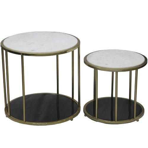 9326533b11d7d 2 Piece Gold   Black Barcelona Marble Side Table Set