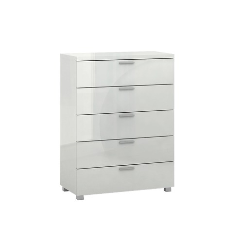 In Home Furniture Style Aria High Gloss 5 Drawer Chest