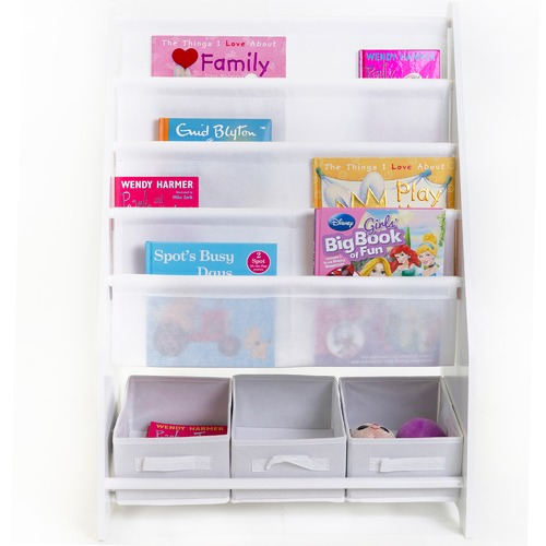 In Home Furniture Style Mia Kids' Book Display with 3 Storage Tubs
