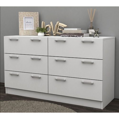 In Home Furniture Style White Tribeca 6 Drawer Lowboy Dresser