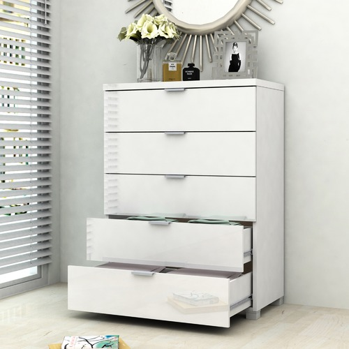 In Home Furniture Style White Gloss Kyana 5 Drawer Chest