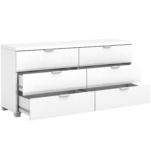 In Home Furniture Style White Gloss Kyana 6 Drawer Chest