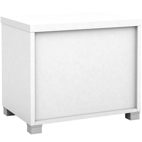In Home Furniture Style White Kyana Double Drawer Bedside Table