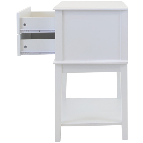 In Home Furniture Style White Chloe 2 Drawer Bedside Table