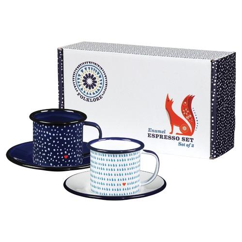 Folklore Espresso Enamel Cups & Saucers