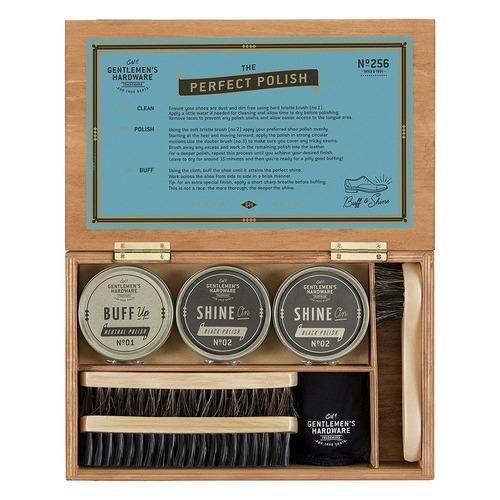 Gentlemen's Hardware 7 Piece Shoe Shine Cigar Box Set