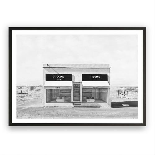 The Print Emporium Black & White Marfa Printed Wall Art