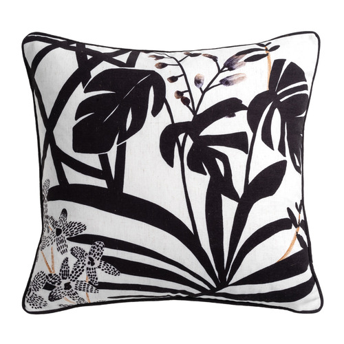 Maison by Rapee Noir Printed Haku Linen-Blend Cushion