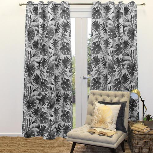 Basford Brands Graphite Print Foliage Single Panel Eyelet Curtain