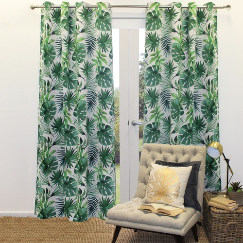 Basford Brands Forest Print Foliage Single Panel Eyelet Curtain