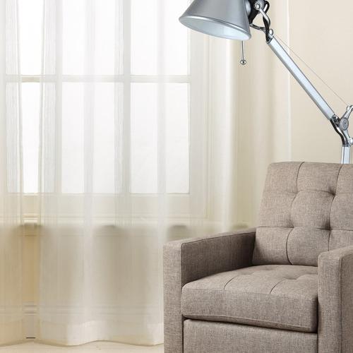 Basford Brands White Asina Sheer Pencil Pleat Single Panel Curtain
