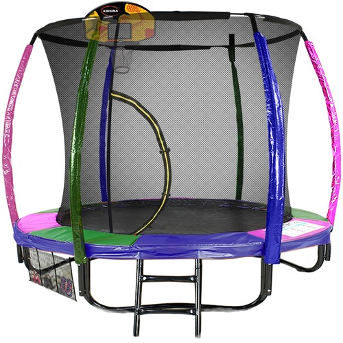 KOutdoorCollective Collection Sky High Rainbow Trampoline with Basketball Set
