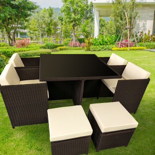 KOutdoorCollective Collection 8 Seater Cube Outdoor Dining Table & Seat Set
