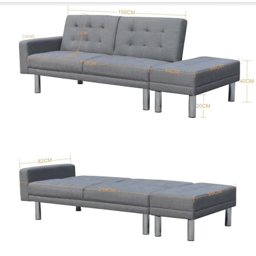 KOutdoorCollective Collection Futon 3 Seater Sofa Bed with Ottoman